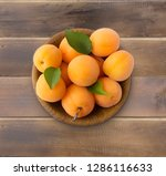 top view. ripe apricots on... | Shutterstock . vector #1286116633
