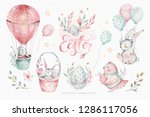 Stock photo hand drawn watercolor happy easter set with bunnies design rabbit bohemian style isolated boho 1286117056