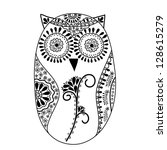 abstract floral owl | Shutterstock . vector #128615279
