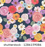 flower seamless pattern for...   Shutterstock .eps vector #1286159086