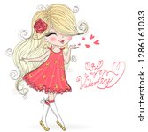 hand drawn beautiful  cute ... | Shutterstock .eps vector #1286161033