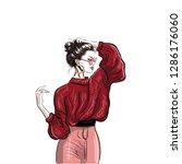 trendy girl in red pullover... | Shutterstock .eps vector #1286176060