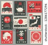 set of vector postage stamps on ... | Shutterstock .eps vector #1286177296