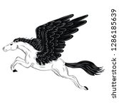pegasus line art vector... | Shutterstock .eps vector #1286185639