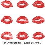 print of red lips set. world... | Shutterstock .eps vector #1286197960