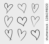 vector set of doodle hand drawn ... | Shutterstock .eps vector #1286198020