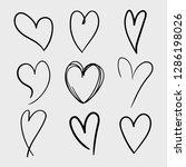 vector set of doodle hand drawn ... | Shutterstock .eps vector #1286198026