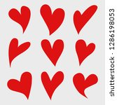 vector set of red isolated... | Shutterstock .eps vector #1286198053