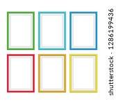 set of vintage colorful wooden... | Shutterstock .eps vector #1286199436