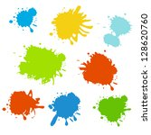 collection of paint splash.... | Shutterstock .eps vector #128620760