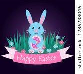 blue easter bunny sitting on...   Shutterstock .eps vector #1286238046