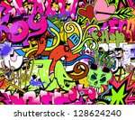 graffiti wall art background.... | Shutterstock .eps vector #128624240