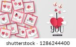 love story in photo 3d paper... | Shutterstock .eps vector #1286244400