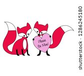 valentines day fox with heart  | Shutterstock .eps vector #1286245180