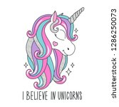 art glitter unicorn drawing for ... | Shutterstock .eps vector #1286250073