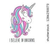 art glitter unicorn drawing for ... | Shutterstock .eps vector #1286250073