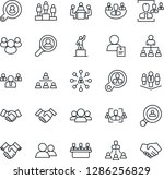 Thin Line Icon Set - handshake vector, hierarchy, pedestal, team, patient, group, company, hr, meeting, client search, consumer