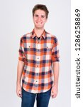 happy young handsome man... | Shutterstock . vector #1286258869