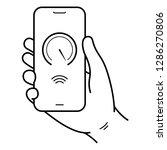 hand holds smartphone. 5g...   Shutterstock .eps vector #1286270806