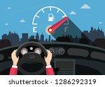 hands on steering wheel with... | Shutterstock .eps vector #1286292319