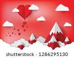 art paper heart balloons fly on ... | Shutterstock .eps vector #1286295130