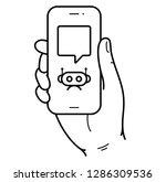 right hand holding smartphone....   Shutterstock .eps vector #1286309536