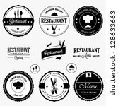 restaurant labels set | Shutterstock .eps vector #128633663