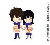 vector couple in love  doodle...   Shutterstock .eps vector #1286351080