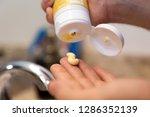young caucasian hands squeezing ... | Shutterstock . vector #1286352139