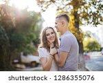 couple in love   a cute girl... | Shutterstock . vector #1286355076