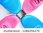 pair of blue running sneakers...   Shutterstock . vector #1286356270