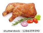 smoked chicken leg quarters...   Shutterstock . vector #1286359390