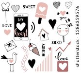 valentines day doodle elements... | Shutterstock .eps vector #1286359576