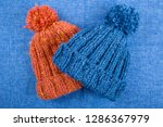 two hand knitted youth warm hat ... | Shutterstock . vector #1286367979