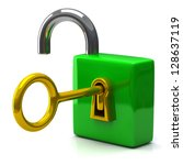 opened green pad lock with key  ... | Shutterstock . vector #128637119