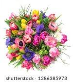 bouquet spring tulip flowers...   Shutterstock . vector #1286385973