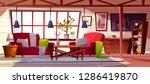 loft lounge room interior... | Shutterstock . vector #1286419870