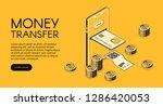 money transfer mobile phone... | Shutterstock . vector #1286420053