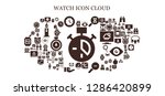 watch icon set. 93 filled... | Shutterstock .eps vector #1286420899