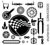 bicycles. set of bicycle parts. ... | Shutterstock .eps vector #1286423020