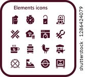 elements icon set. 16 filled... | Shutterstock .eps vector #1286424079