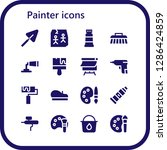 painter icon set. 16 filled... | Shutterstock .eps vector #1286424859