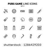 pubg game line icons. vector... | Shutterstock .eps vector #1286429203