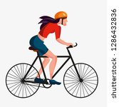 girls riding on bicycles ... | Shutterstock .eps vector #1286432836