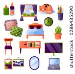 set of furniture and interior...   Shutterstock .eps vector #1286435290