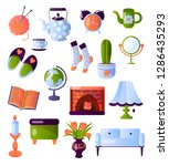 set of furniture and interior...   Shutterstock .eps vector #1286435293