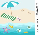 summer card design with parasol ... | Shutterstock .eps vector #1286445226