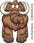 big angry cartoon mammoth.... | Shutterstock .eps vector #1286446216