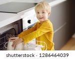 child puts dirty crockery in... | Shutterstock . vector #1286464039
