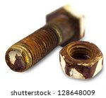 Rusty Bolt And Nut Isolated On...